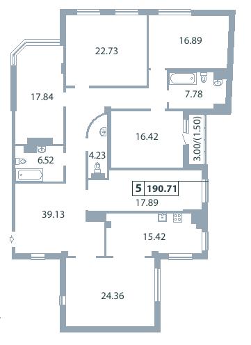 Планировка Пятикомнатная квартира площадью 188.4 кв.м в ЖК «Дом на Дворянской»